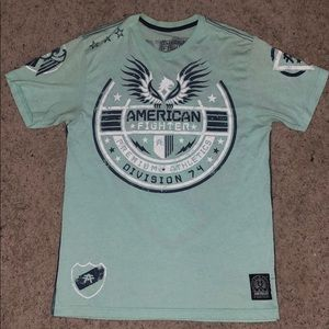 Mint green American Fighter T-shirt.